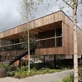 The first building made from hardwood crosslaminated Tulipwood opens in England